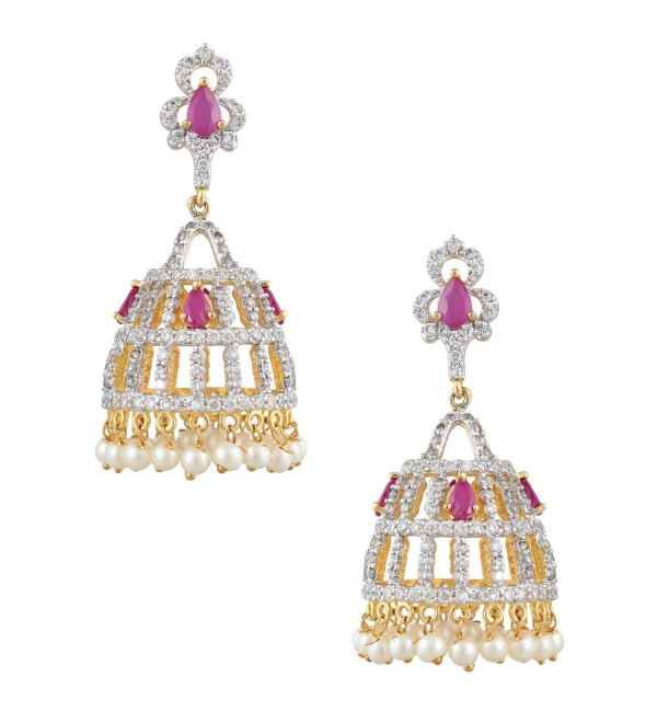 Swasti Jewels Women's American Diamond CZ Zircon Fashion Traditional Ethnic Jhumkas Earrings - Red - CY12BP6O9N3