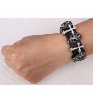 YACQ Leather Crystal Adjustable Bracelet