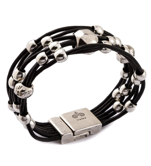 Trades by Haim Shahar Loni Leather Bracelet MB670BB handmade in Spain magnetic clasp designer - CB12MA9JTHP