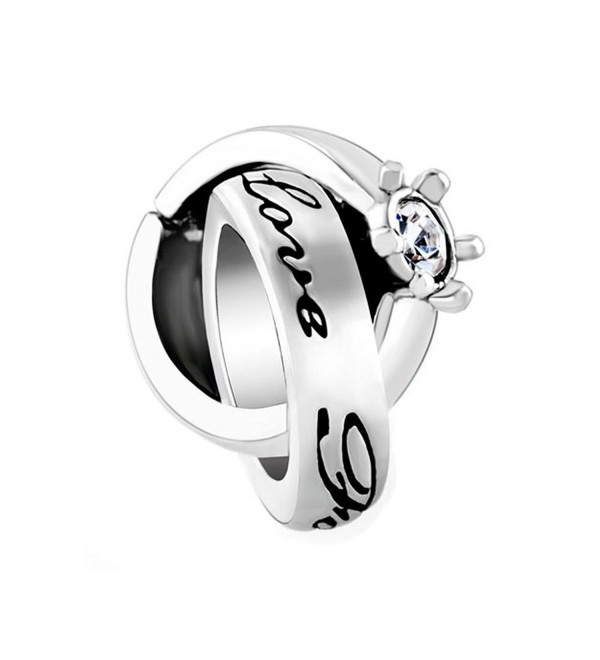 CharmsStory Interlinked Ring Love Forever Charms Synthetic Crystal White Synthetic Crystal For Bracelets - CC11VW908QL
