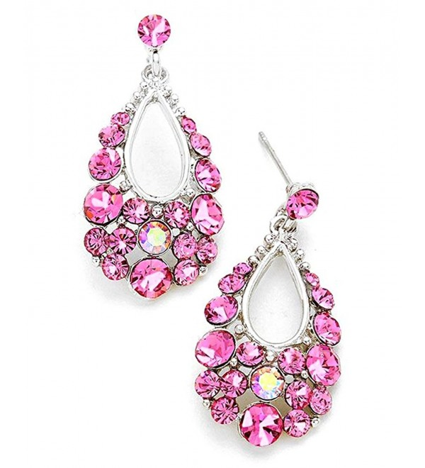 Women's Genuine Austrian Crystal Bubble Teardrop Dangle Pierced Earrings - Rose/Silver-Tone - CG1825H74UL