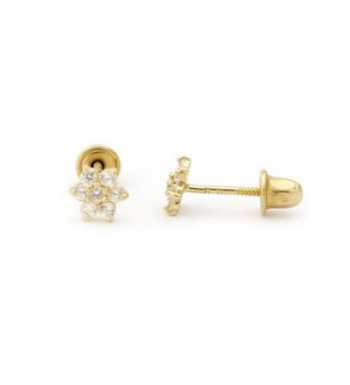 14k Gold Cubic Zirconia Flower Stud Earrings with Child Safe Screwbacks - C611JGUZZW5