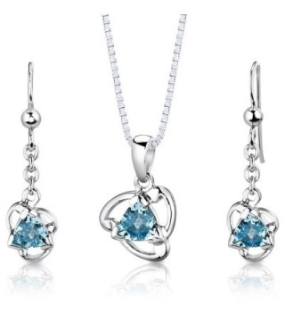 Swiss Blue Topaz Pendant Earrings Necklace Set Sterling Silver 2.50 Carats - C9112TBL5XB