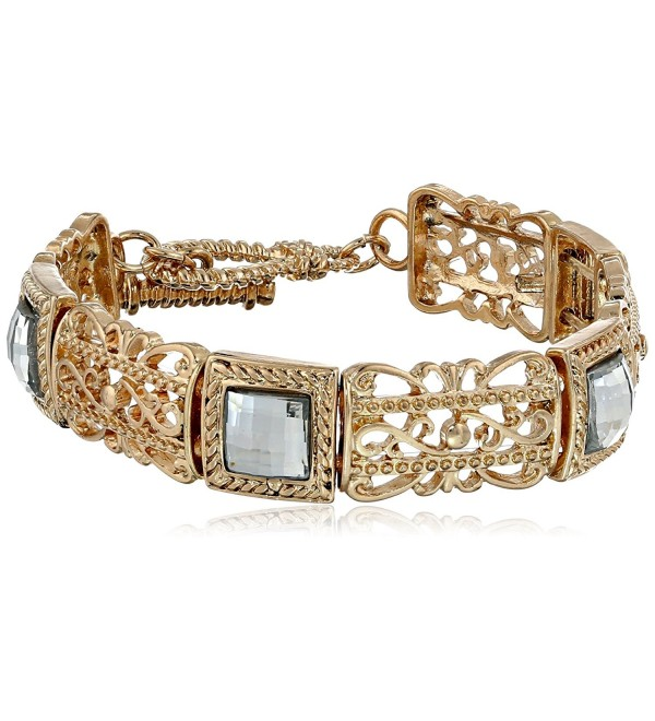 "1928 Jewelry ""Jeweled Filigree"" Square and Filigree Stretch Bracelet - Clear - C411OR5BNHP"
