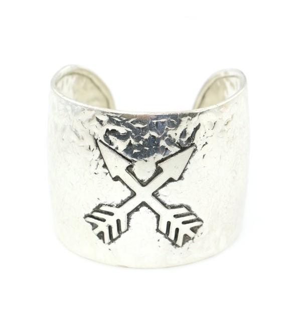Western Handmade Cuff Bracelet with Crossing Arrow Design - Silver - CA187NGUAQH