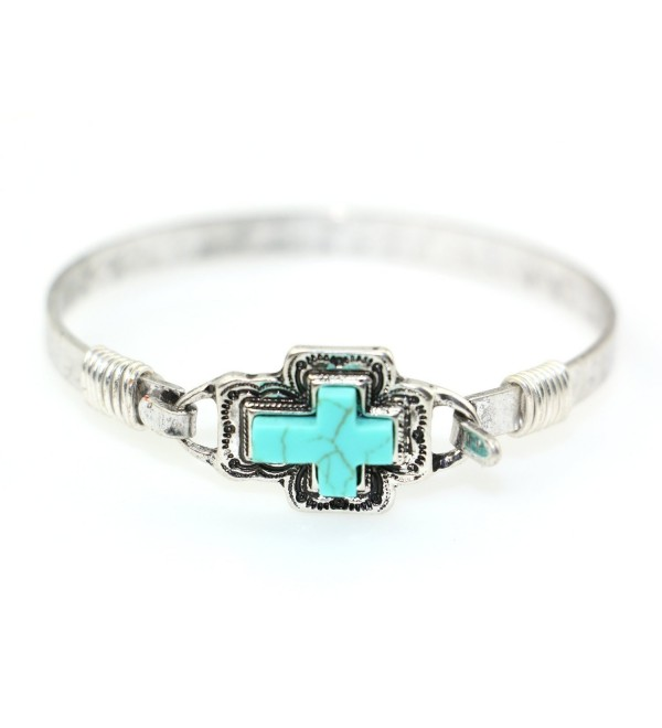 Teal Cross Handmade Beautiful Bangle Bracelet with Wire Design - Silver Burnish - CH18689DCAM