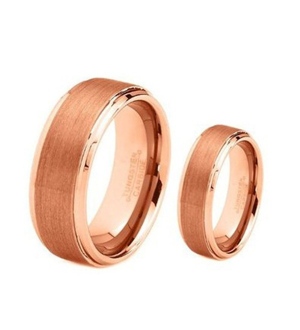 His & Her's 8MM/6MM Rose Gold Brushed Center Step Edge Tungsten Carbide Wedding Band Ring Set - CD124659C4V