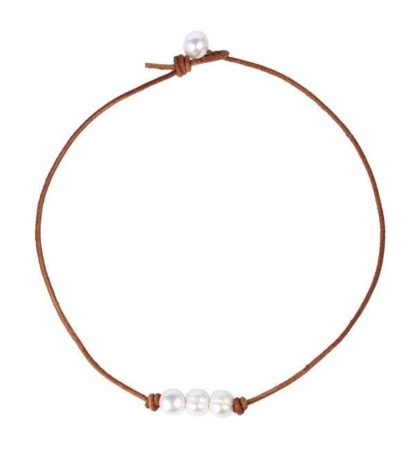 Bonnie Leather Choker Genuine Leather 3 White Pearls Cord Knotted Necklace Handmade Jewelry for Women - Brown - C012NGFMGUB