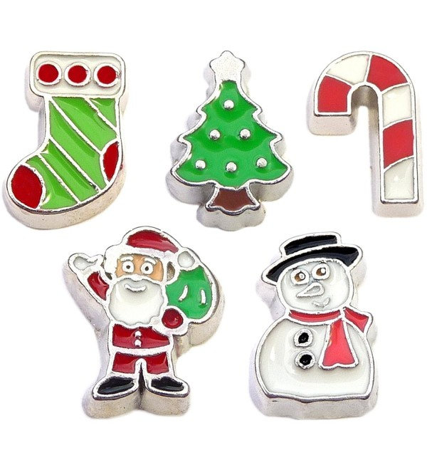 5 Floating Locket Charms Holiday Christmas Gift Theme for Your Living Locket - CU11RC77FM7
