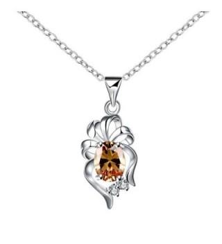 Mealove Silver Gorgeous Flowers Cubic Zirconia Pendant Necklace-18 inch - CC12KTJEP09