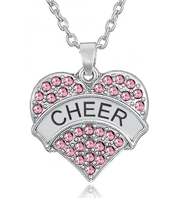 "Silver Crystal Cheerleader Pendant Necklace - ""Pastel Pink 1"""""" - CN188K27O4T"