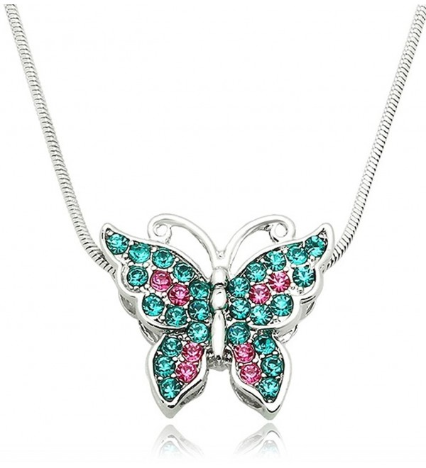Small Silver Tone Crystal Butterfly Pendant Necklace - Choose Pink- Purple- Teal- or Multicolor - Teal Blue - CX186LKMG2M