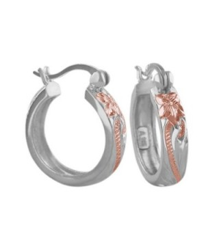 Sterling Silver with 14kt Rose Gold Plated Accents 11/16 Inch Engraved Hoop Earrings - CG116GOYCFF