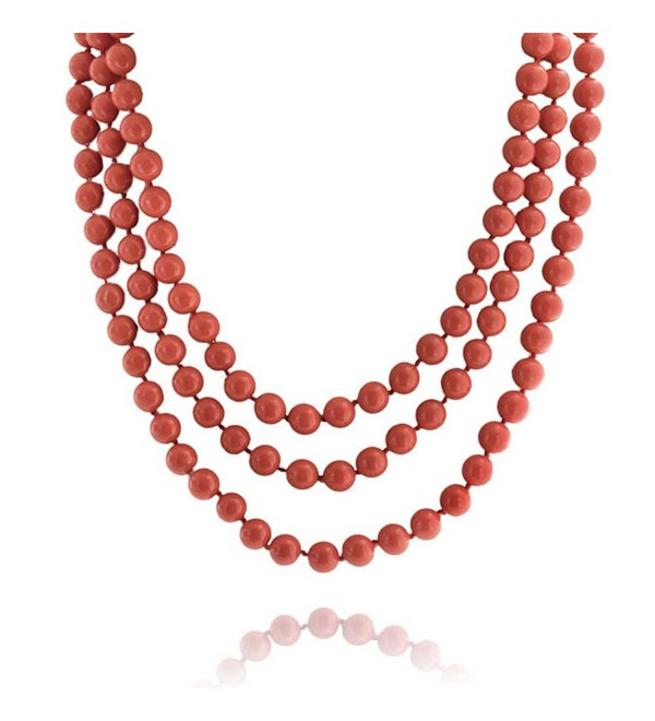 Bling Jewelry Coral Shell Pearl Endless Strand Necklace 69 Inches - C511EISGDLR