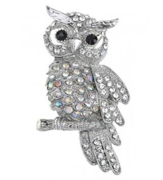 Alilang Crystal Rhinestone Perched Owl Silvery Tone Pin Brooch - CV114V727IX
