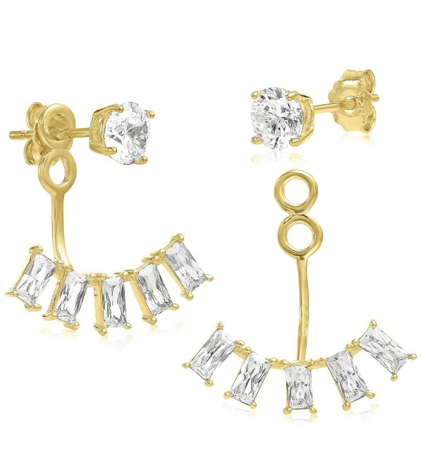 Ear Jacket 2 in 1 Yellow 14k Gold Plated-Sterling Silver CZ AAA Quality Stud & Jacket Earrings Set - C5127KSP3WB