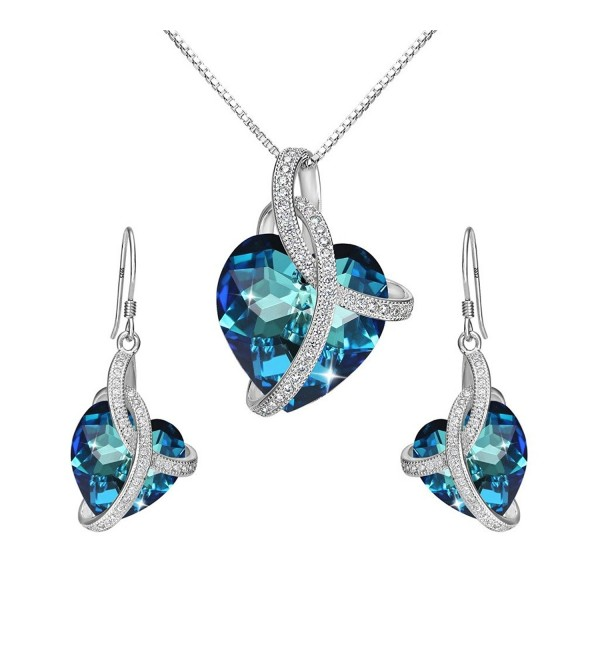 EleQueen Sterling Courageous Inspired Swarovski - Bermuda Blue - CB12O54AZQ0