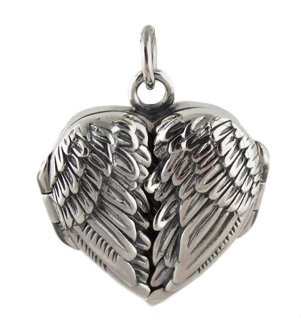 Sterling Silver Angel Wings Locket Pendant - CJ11GMS93X1