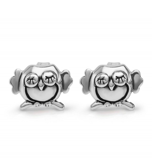 925 Sterling Silver 8 mm Cute Tiny Little Sleeping Owl Post Stud Earrings - CU11WYKVH5D