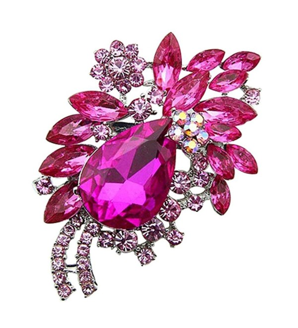 Sanwood Women's Teardrop Flower Rhinestone Brooch Pin Broach Banquet Badge Breastpin - Rose-Red - C917XXNYHWD