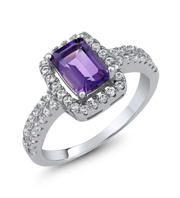 1.67 Ct Emerald Cut Purple Amethyst Gemstone Birthstone 925 Sterling Silver Women's Ring - C911NW0HS3T