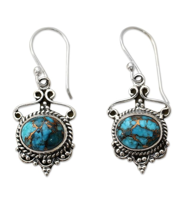 NOVICA Reconstituted Turquoise .925 Sterling Silver Dangle Earrings 'Oceans of Love' - CQ12E4PIQT5