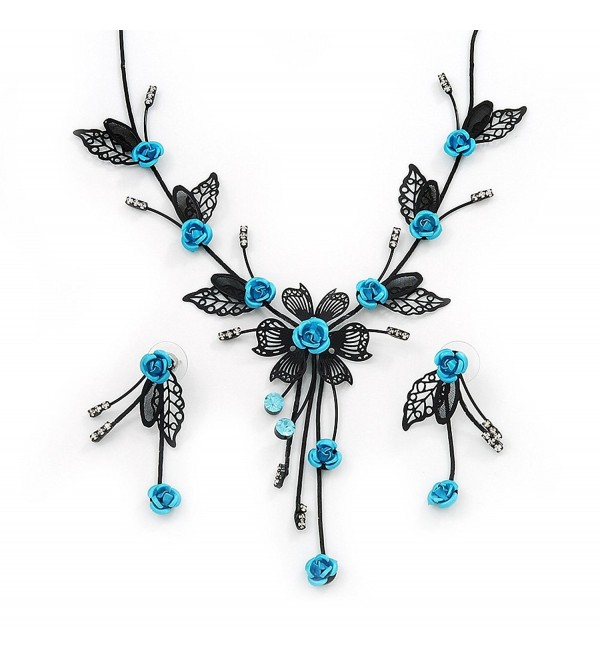 Delicate Y-Shape Blue Rose Necklace & Drop Earring Set In Black Metal - CW119BAYCS7