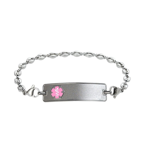 Divoti Custom Engraved Classic Medical Alert Bracelet -Anchor Stainless -Pink - C2183KK2LT4