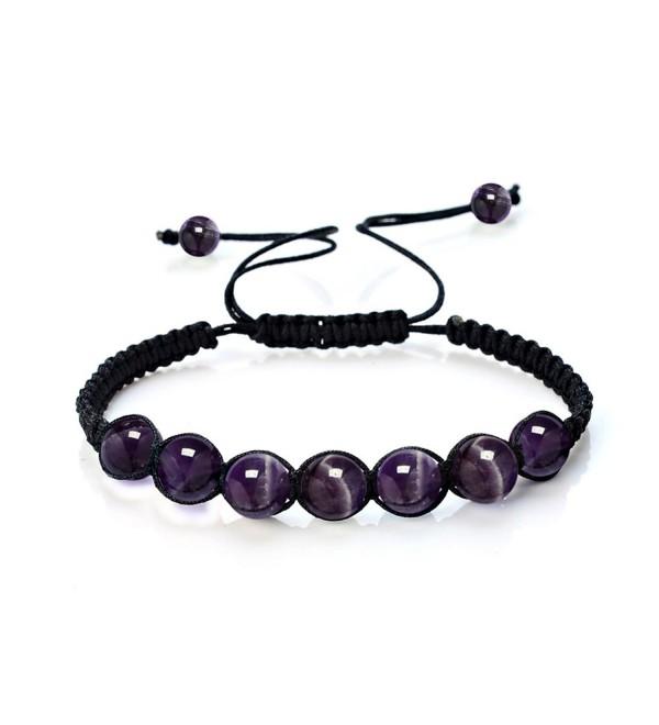 Gemstone Birthstone Amethyst Balance Bracelet - Amethyst-8MM-7 Beads - C617YLODQQW
