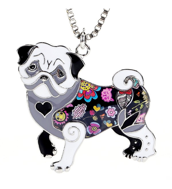 Pug Pendant Necklace for Women Handmade Unique Enamel Puppy Pet Gift Jewelry for Dog Lovers - Black - C3185SEXUG6