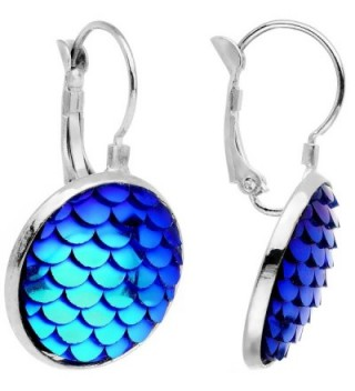Body Candy Handcrafted Iridescent Blue Mermaid Scale Leverback Pierced Earrings - CW184T0DMNU