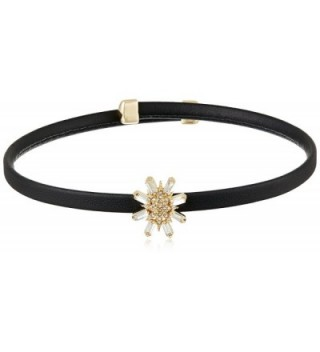 ABS By Allen Schwartz Open Leather Charm Crystal Choker Necklace - Gold Black Crystal - C612O36D2WE