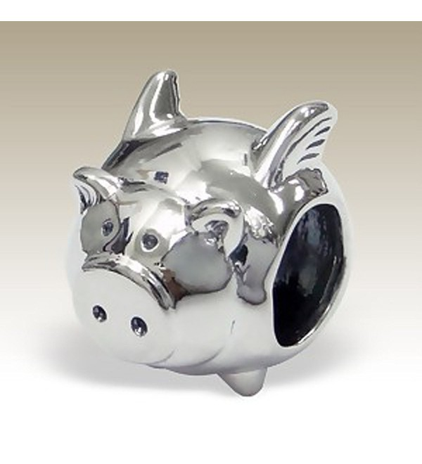 Flying Pig Charm- Pig with Wings- 925 Sterling Silver for Charm Bracelet (E5447) - CX11I1EU52H