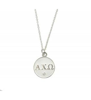 Alpha Chi Omega Sorority Lavalier Necklace - AXO - Silver - CZ11QZQK6E5