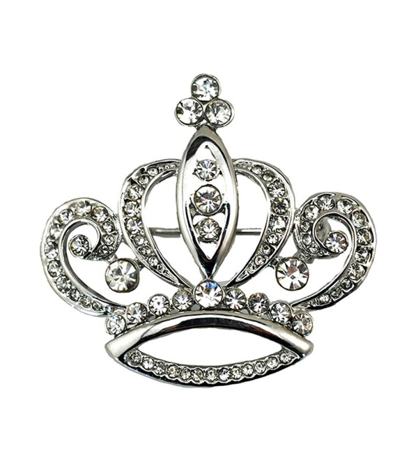 Sewanz Women's Elegant Gold Tone Crystal Crown Shape Brooch Pins-Jewelry Corsage Lapel Pin - White - CW12HB0J793