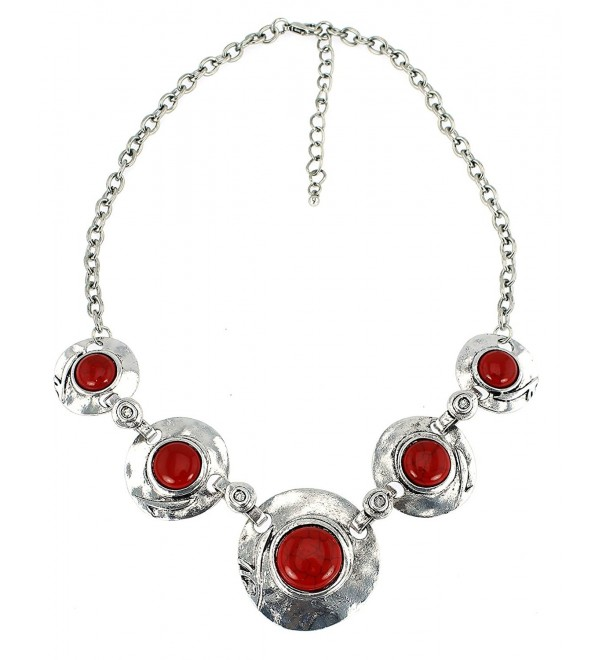 Round Graduated Semi Precious Reconstituted Stones Necklace Set - Red-Coral - CI12CK6QCR3