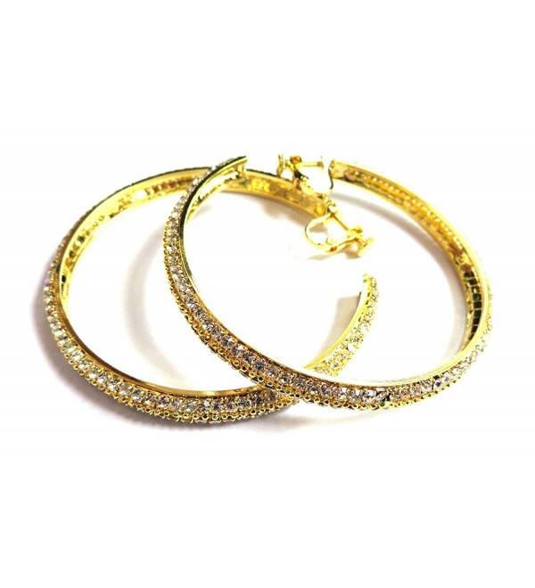 Clip-on Earrings Crystal Hoops Gold Tone Clip Earrings 2.5 inch Hoop Earrings - CC12IXA03CJ