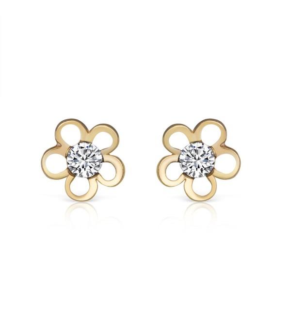 14K Yellow Gold Plated Sterling & Zircon Dainty Flower Stud Earrings Girls Teens Women - CG184ADI4OI