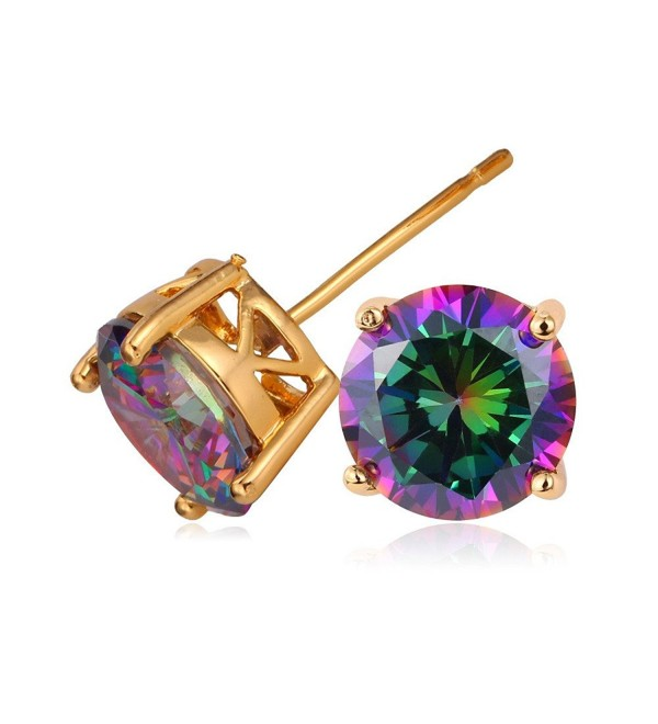 U7 Earrings Zirconia Colorful Diamond - gold rainbow cz - C511YJAA075