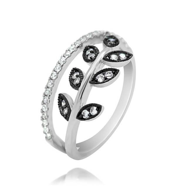 Sterling Silver CZ Black Leaf Statement Ring - CP12NENG9CT