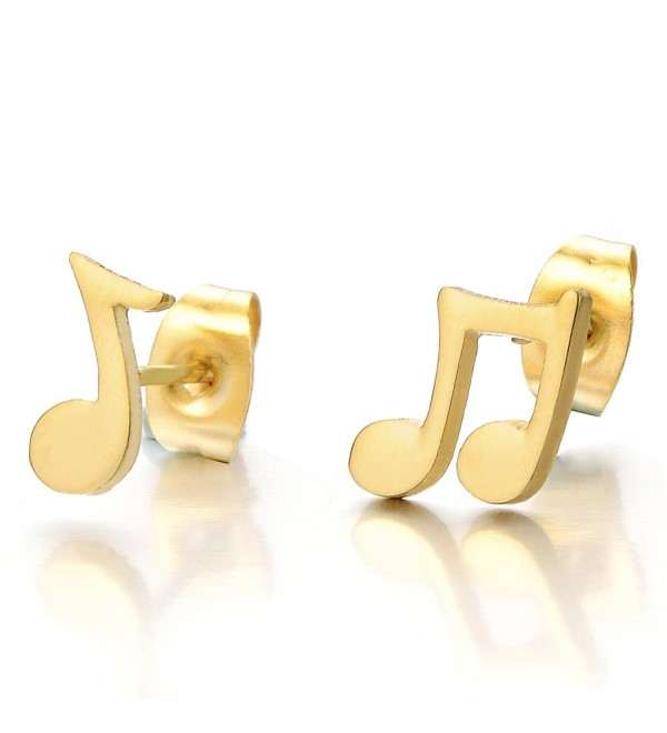 2pcs Music Sign Stud Earrings in Stainless Steel for Men Women Girls- Gold Color - CC12D390XDP