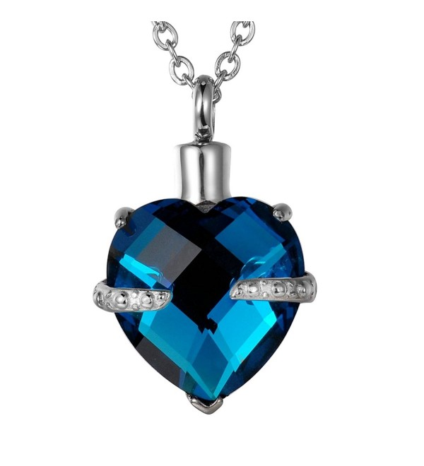 VALYRIA Diamond Birthstone Memorial Heart Urn Pendant Keepsake Ashes Cremation Jewelry - CW12HZKSSGH