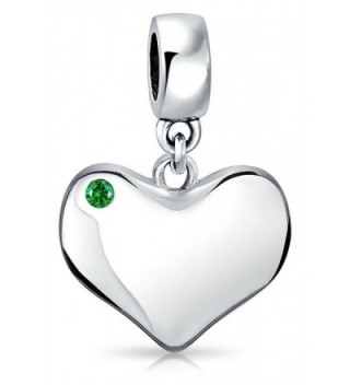 Bling Jewelry Simulated Emerald Crystal Heart Shaped Dangle Bead Charm .925 Sterling Silver - CK11XSBYOS9