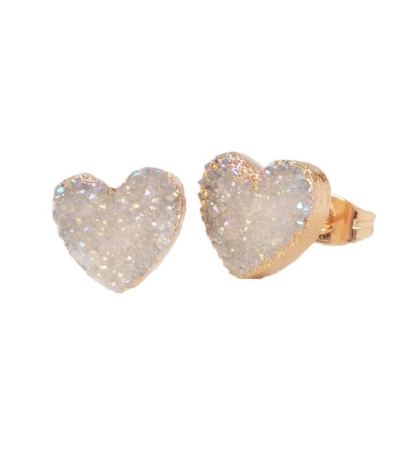 ZENGORI Gold Plated Heart Natural Agate Titanium Druzy Stud Earrings G0910 - AB - CP12M2G3BKR