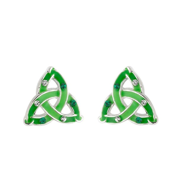 Lucky Trinity Knot Earrings Studs Enamel & Crystal Irish Made - CN118NBB2CP