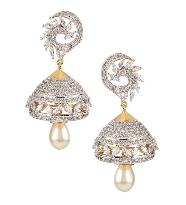 "Swasti Jewels Bollywood Style Zircon CZ Jhumka Earrings with Dangling Pearls for Women 2"" - C4126VXUWR7"