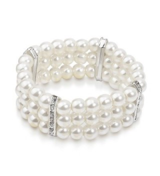 Katie's Style Simulated Pearl Crystal 3-Row Bridal Bridal Wedding Stretch Bracelet - CC12NR2182Q