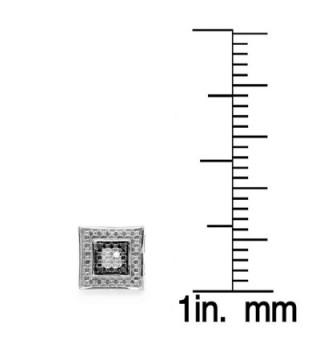 0.05 Carat (ctw) White & Black Round Diamond Micro Pave Setting Kite Shape Stud Earrings - CN119DYPJXT