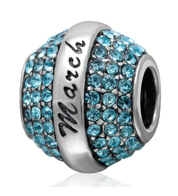 Birthstone Sterling Charms Bracelet Girlfriend - March - CJ12KGAMUST