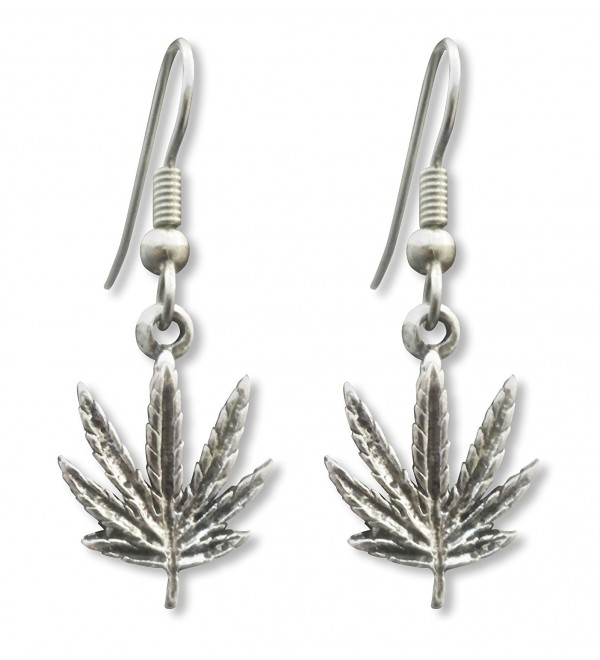 Marijuana Weed Pot Leaf Dangle Earrings Antique Silver Finish Pewter - CA11K5TK8T1